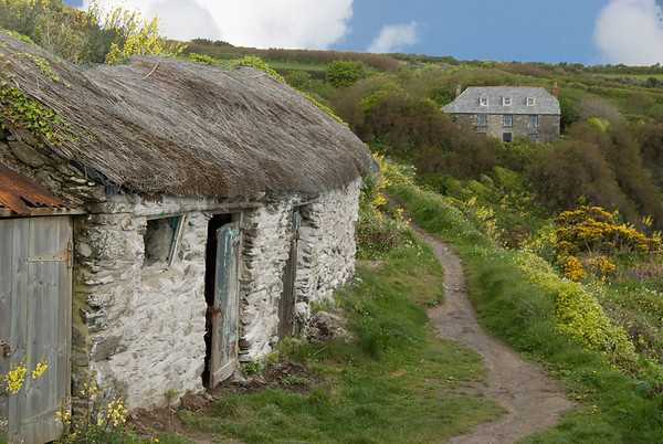 Thatched roof building in the countryside