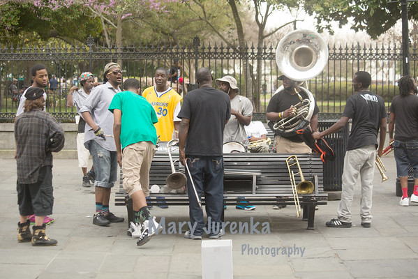 Brass Band at jackson square in New Orleans - March 2015