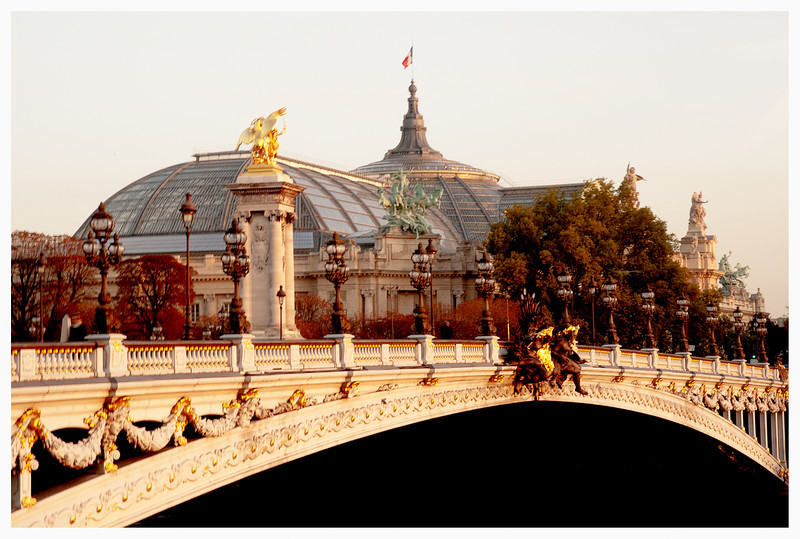 Crazy sun colors on the Pont Alexandre III with Le Grand Palais in background
