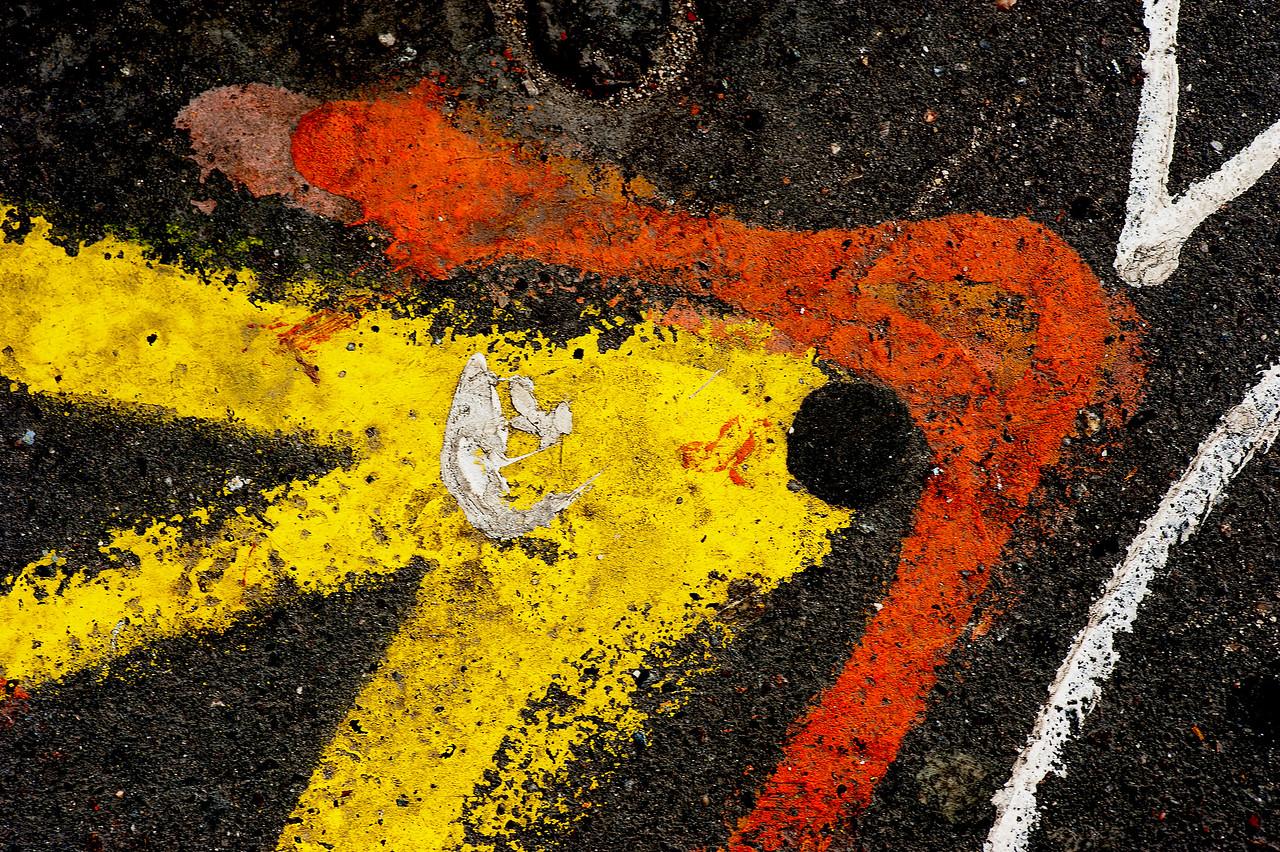 """Street Fish"" - street contruction paint on street near the Louvre"