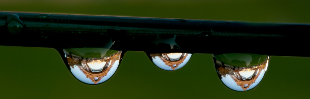 """Tower reflections - the biggest drop was about 1/4"""" top to bottom. Macro lens with 3 extension tubes on a crop frame camera."""