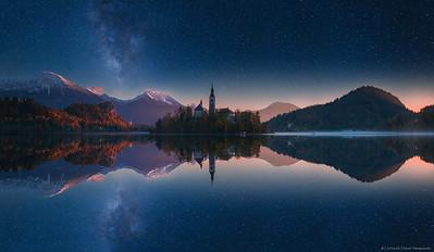 2016.82 - LE - Slovenia IX - LakeBledNight - Pano - HRes