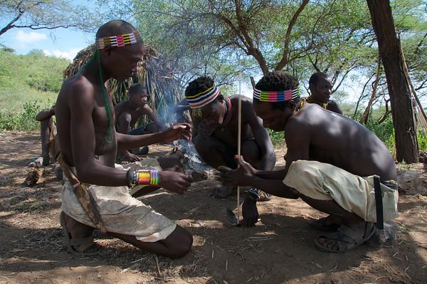 Hadzabe making fire