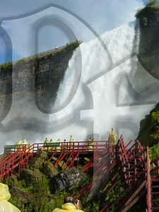 Bridal Veil Falls as seen from the 'Cave Of The Winds' tour deck. Niagara Falls, NY