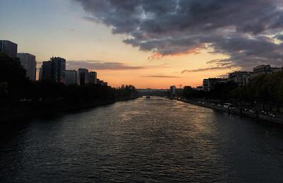 Sunset over Seine river