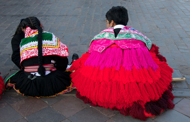 Kids in traditional Peruvian costume. Cusco, Peru