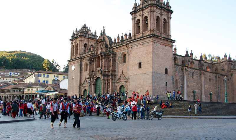 Street celebration at the cathedral on the Plaza de Armas. Cusco, Peru.