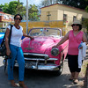 1950's American convertibles on our way to our farewell lunch in Havana: Neelie & Claudia.