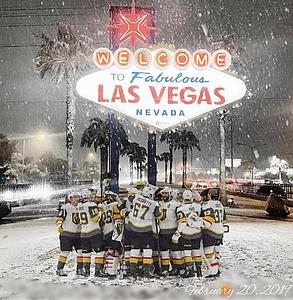 2019-02-21 Real Snow Day Las Vegas 13 - snow, LV Sign & Knights