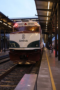 Exiting King Street Station to board the train.  Amtrak Cabbage Head End Unit (not an engine)