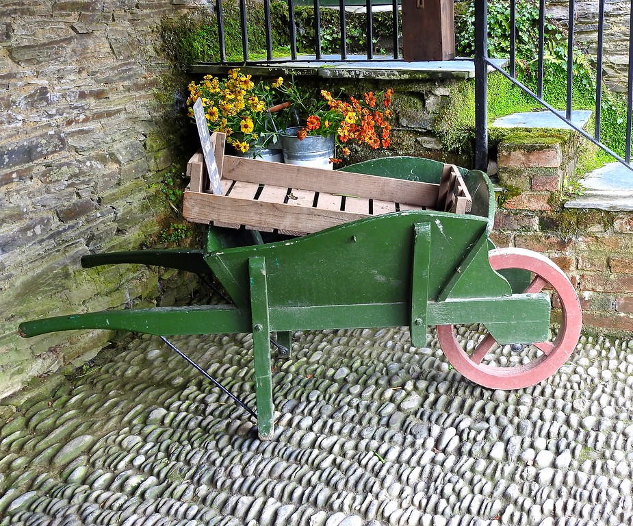 Wheelbarrow, The Lost Gardens of Heligan, Cornwall
