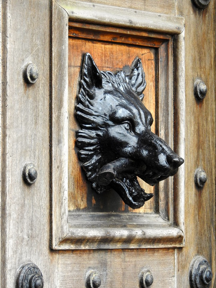 Highclere Wolf on Front Door