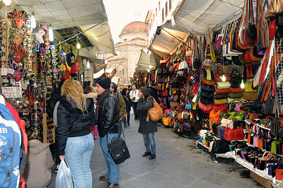 The outdoor market area.  Meghan's favorite shopping area, belts, bags, leather coats, scarfs, masks, etc., you name it and it is being sold here.