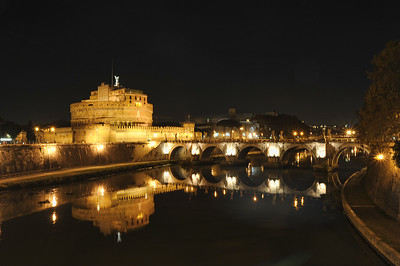 Castel Sant' Angelo Bridge Over Tiber River, Rome, Italy