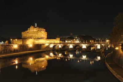 Castel Sant' Angelo Bridge Over Tiber River, Rome, Italy