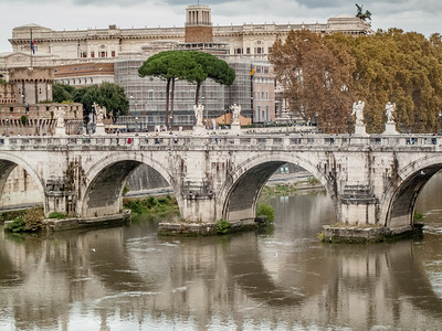 Sant'Angelo Bridge over the Tiber River, Rome.