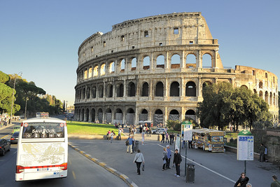 My first sight of the Colosseum from atop the tour bus.