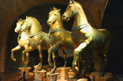 Four Horses of Saint Marks sit inside the entrance of the Basillica.
