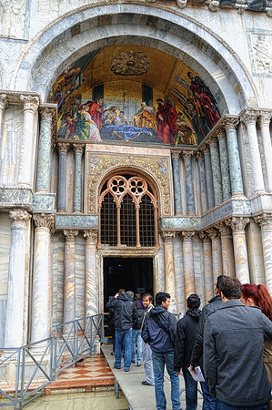 Entrance to Basilica of San Marco.  Sad to see that the water was covering the floor on the inside of the Basillica, the raised sidewalk went entirely inside up to the stairs.