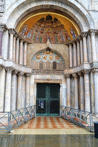 Closed entrance to Basilica of San Marco.  Sad to see that the water was covering the floor on the inside of the Basillica.