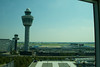 This is an airport hotel.  What do you see out the window?  The airport tower, of course