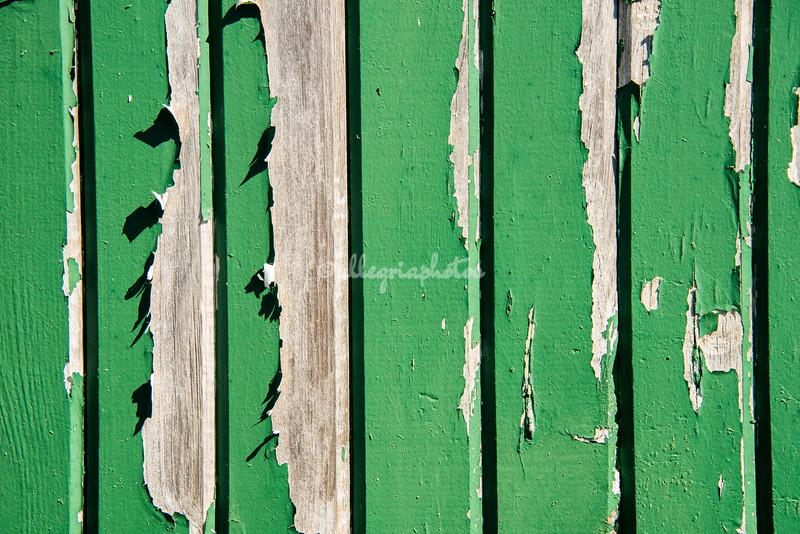 Peeling green plate on a wooden gate