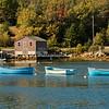 Three blue rowboats in Deep Water, Nova Scotia
