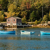 Three blue rowboats in Deep Water, Nova Scotia