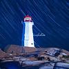 Star trails, Peggy Cove's Lighthouse, Nova Scotia