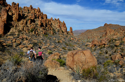 fellow hikers going back down the trail to Balanced Rock in the Grapevine Hills