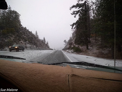 snow on highway 299 traveling east