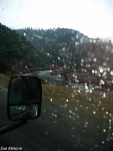 Still raining as we begin traveling east toward Redding along the Trinity River