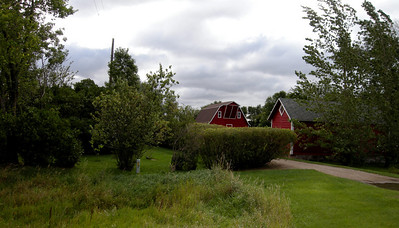 clean red barns in North Dakota