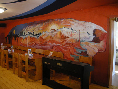 the mural in the dining room at the Capital Reef Inn