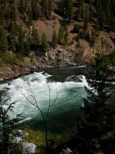walking back upstream toward the falls