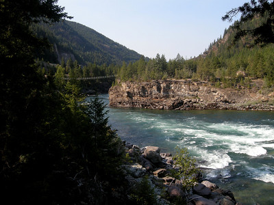 swinging bridge across the canyon