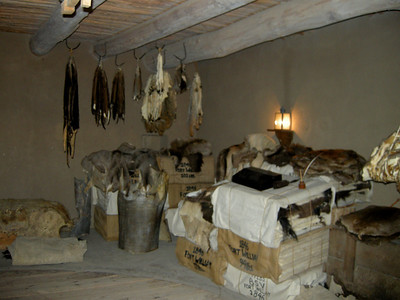 storage rooms with furs and compressed buffalo hides ready for transport