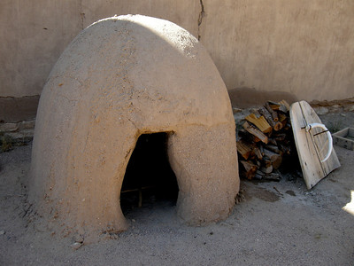a real clay oven in the courtyard