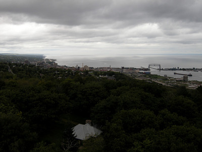 views of Duluth and the Aerial Bridge from Enger Tower on Skyline Drive