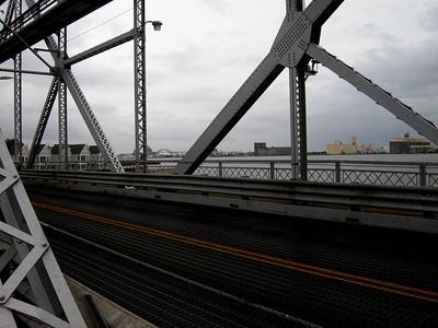 walking across the aerial bridge