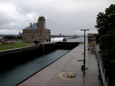 rainy view of the locks with no ships scheduled until after 9pm because of the rough seas today