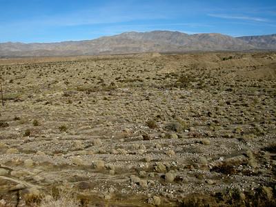 dissected alluvail fans in the desert east of Desert Hot Springs