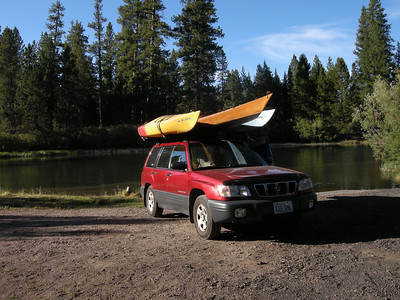 Don fit all three kayaks on his Subaru