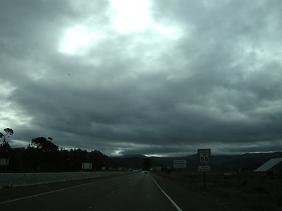 threatening skies as we travel south on 101