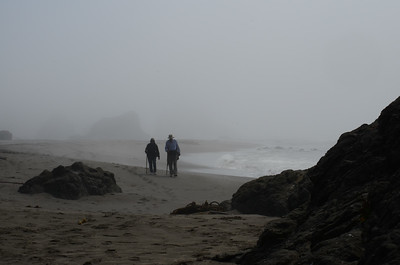foggy afternoon but warm down on the beach