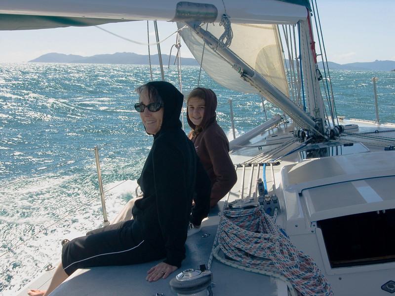 Jan and Mackenzie sailing in the Whitsundays