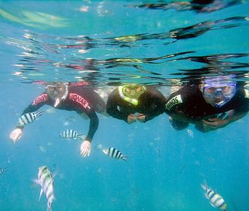 Jan, Evan and Mackenzie snorkeling