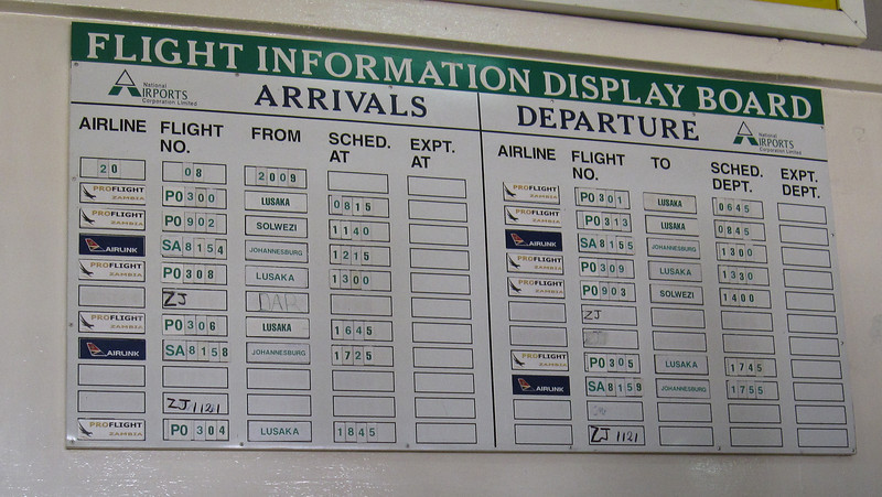 The flight board of all flights to/from Ndola