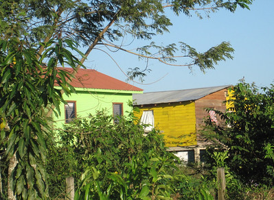 Beautifully painted houses everywhere in Belize and Guatemala.