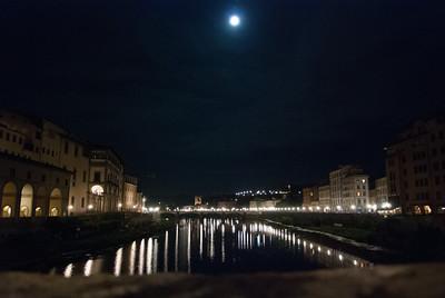 View from the Ponte Vecchio Bridge up the Arno River